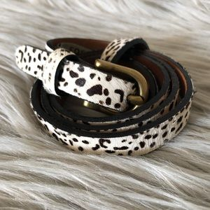 Fossil Cowhide Leather Calf Hair Belt